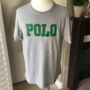 Vintage Polo Ralph Lauren Spell Out Gray Tshirt XL